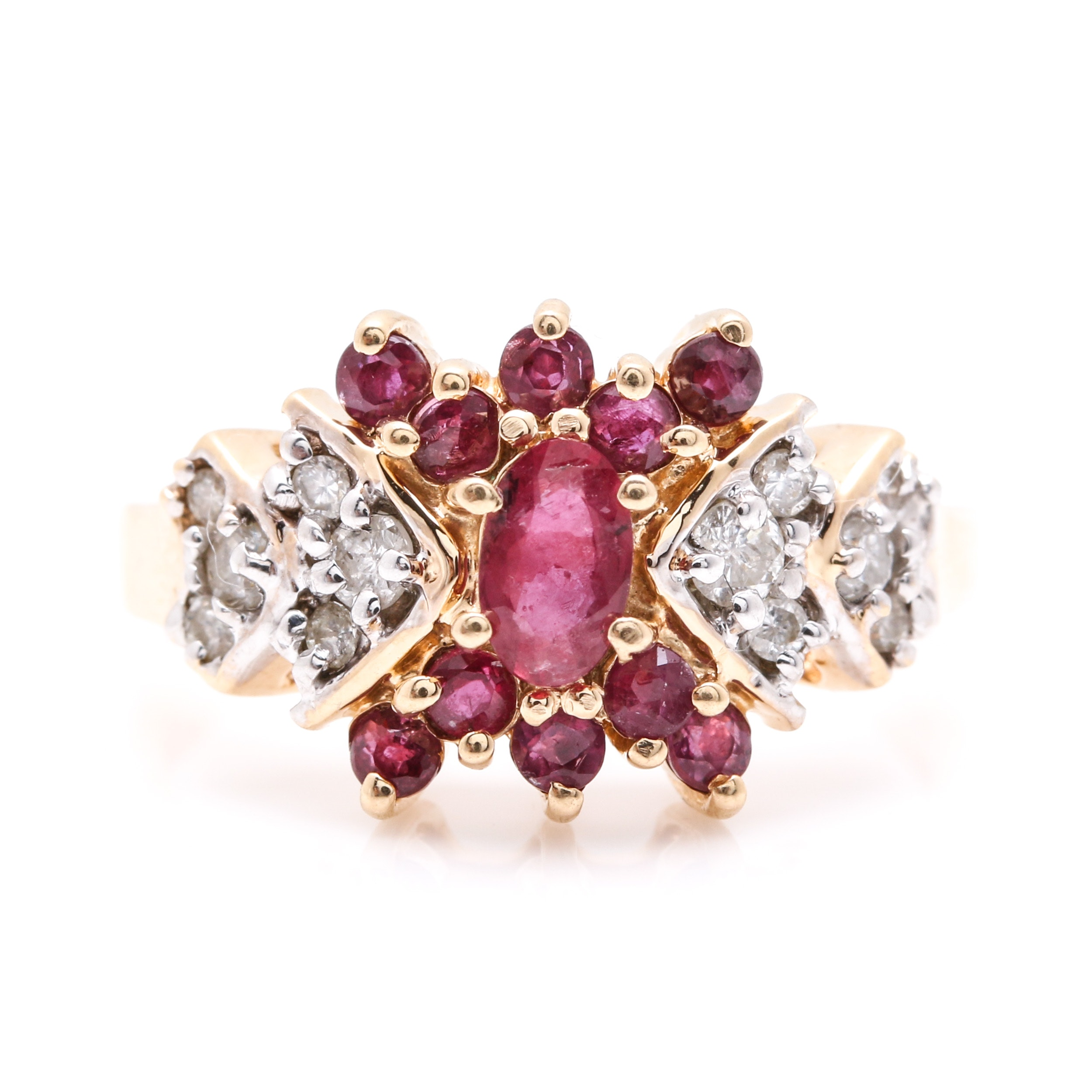 14K Yellow Gold Ruby and Diamond Cluster Ring