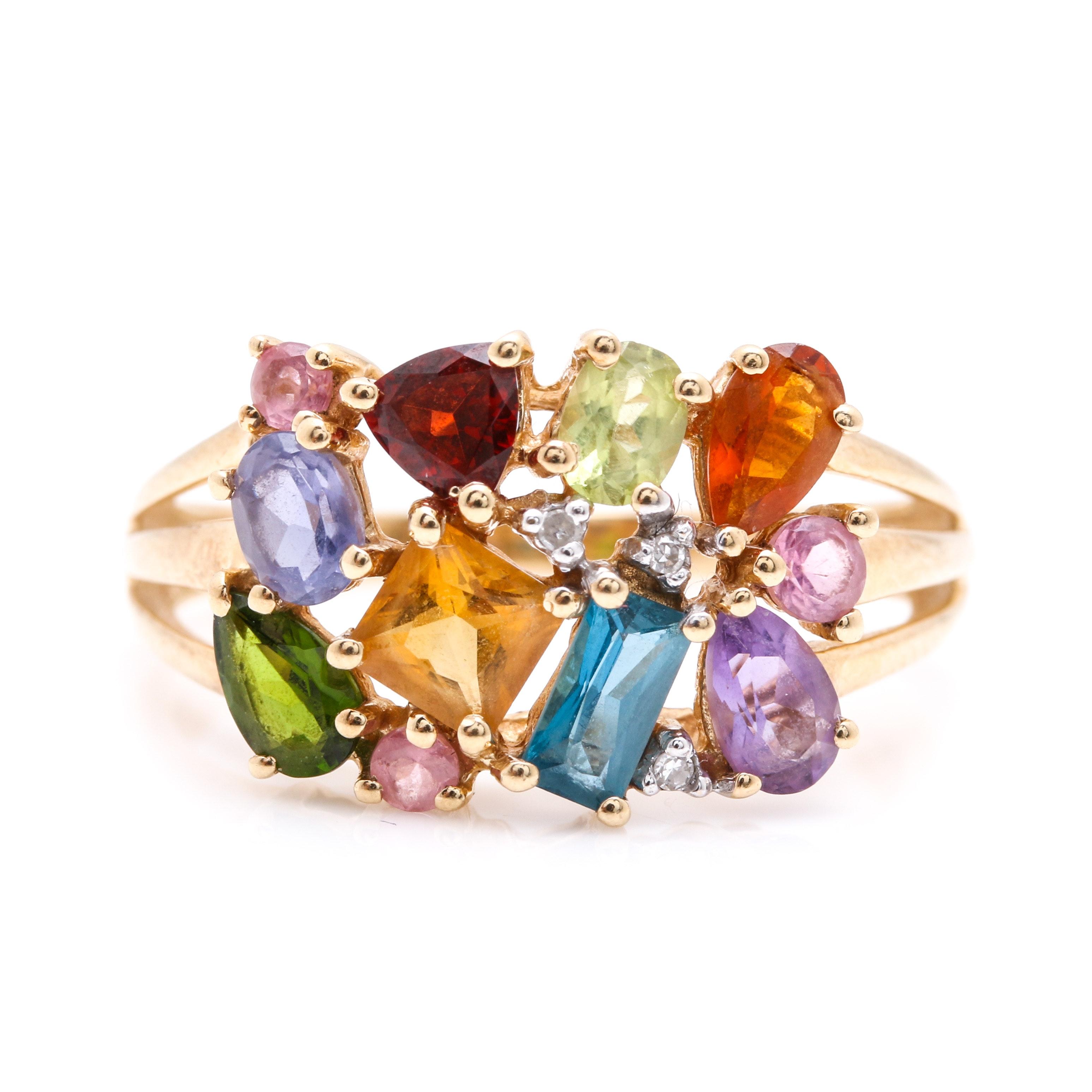 14K Yellow Gold Multi-Gemstone and Diamond Cluster Ring