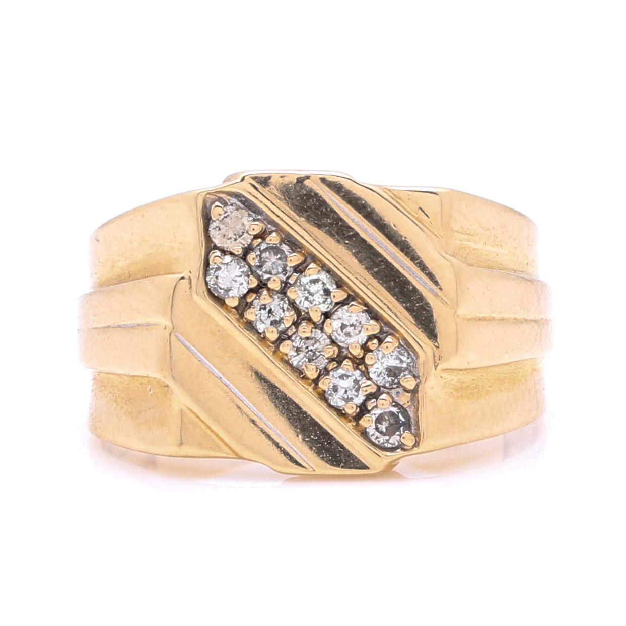 10K Yellow Gold Squared 0.20 CTW Diamond Ring