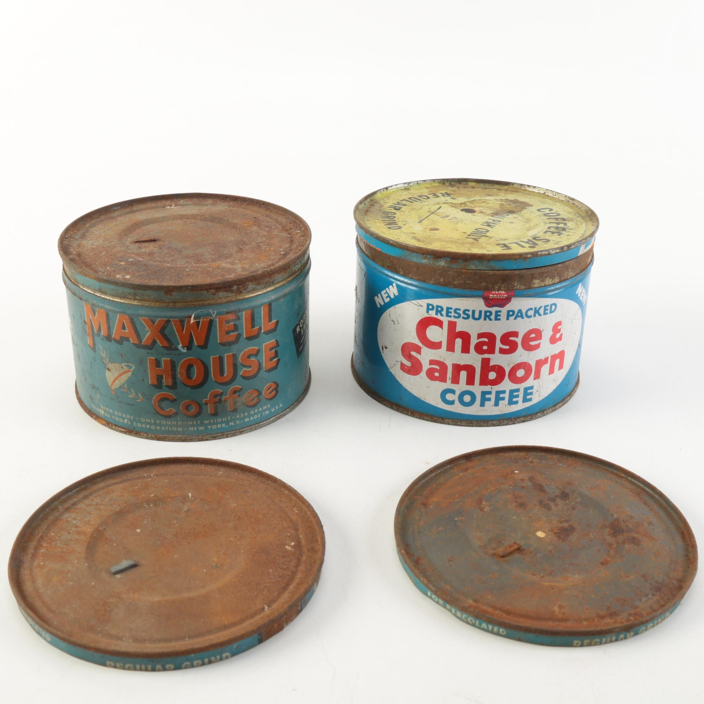 Pairing of Vintage Coffee Cans Including Maxwell House