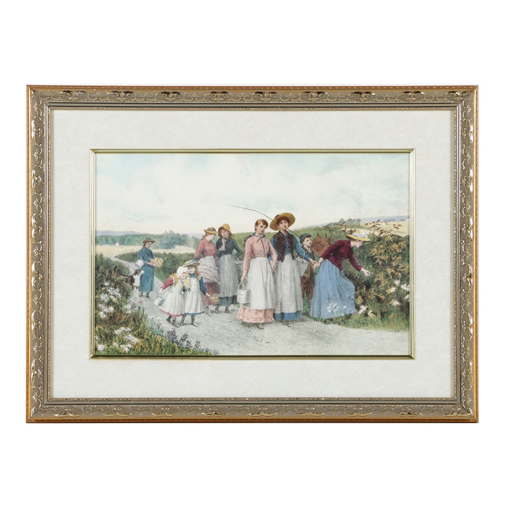 """Framed Print of Jennie Brownscombe's """"Berry Pickers"""""""