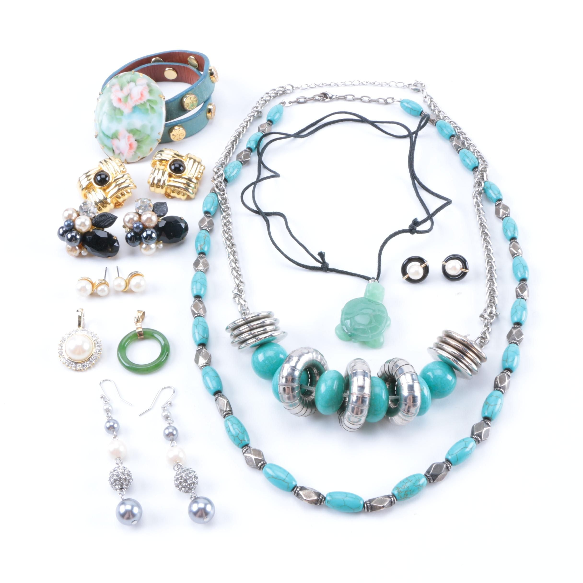 Costume Jewelry Assortment Including Pieces With Stones