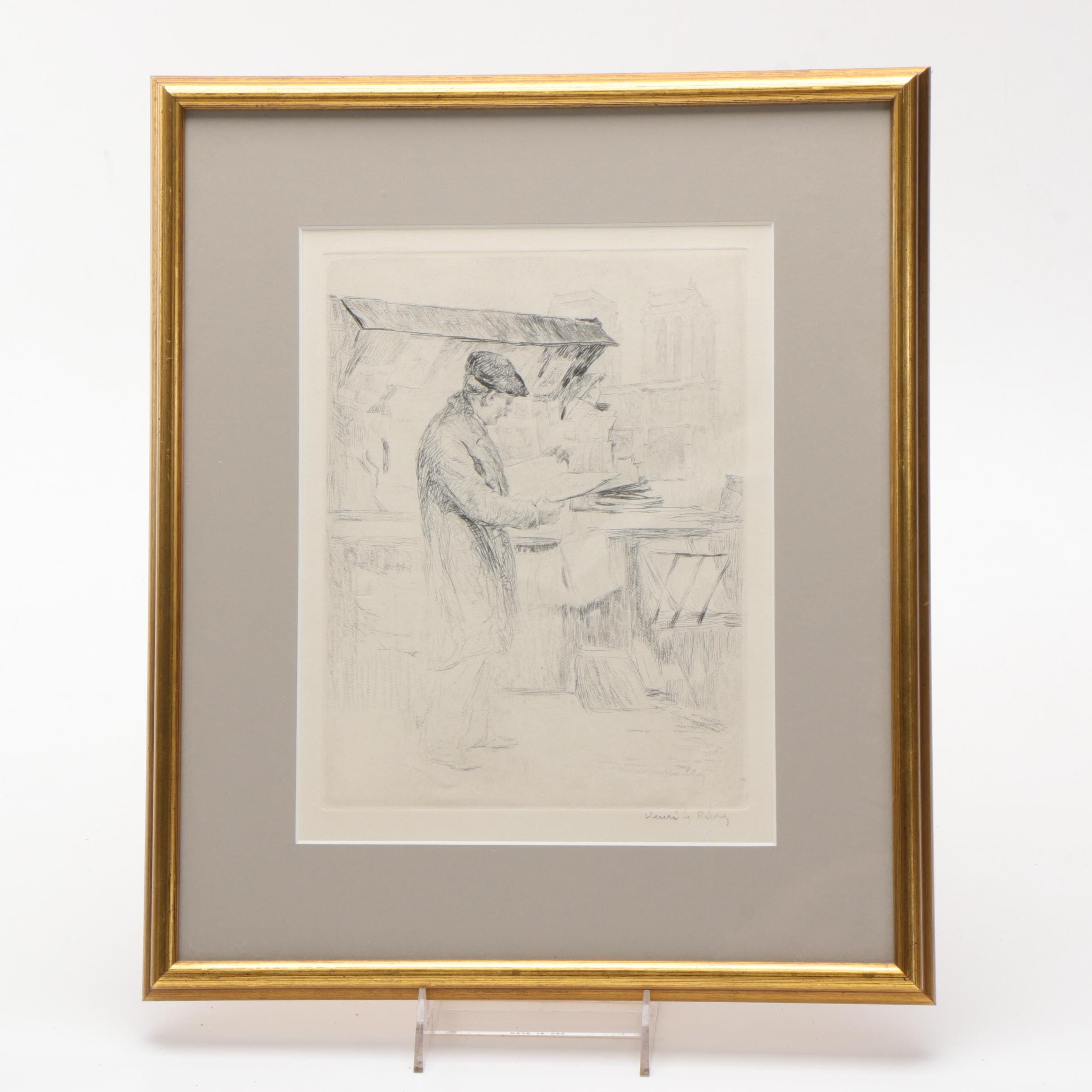 Henri LeRiche Etching with Drypoint of Man at Market Stall