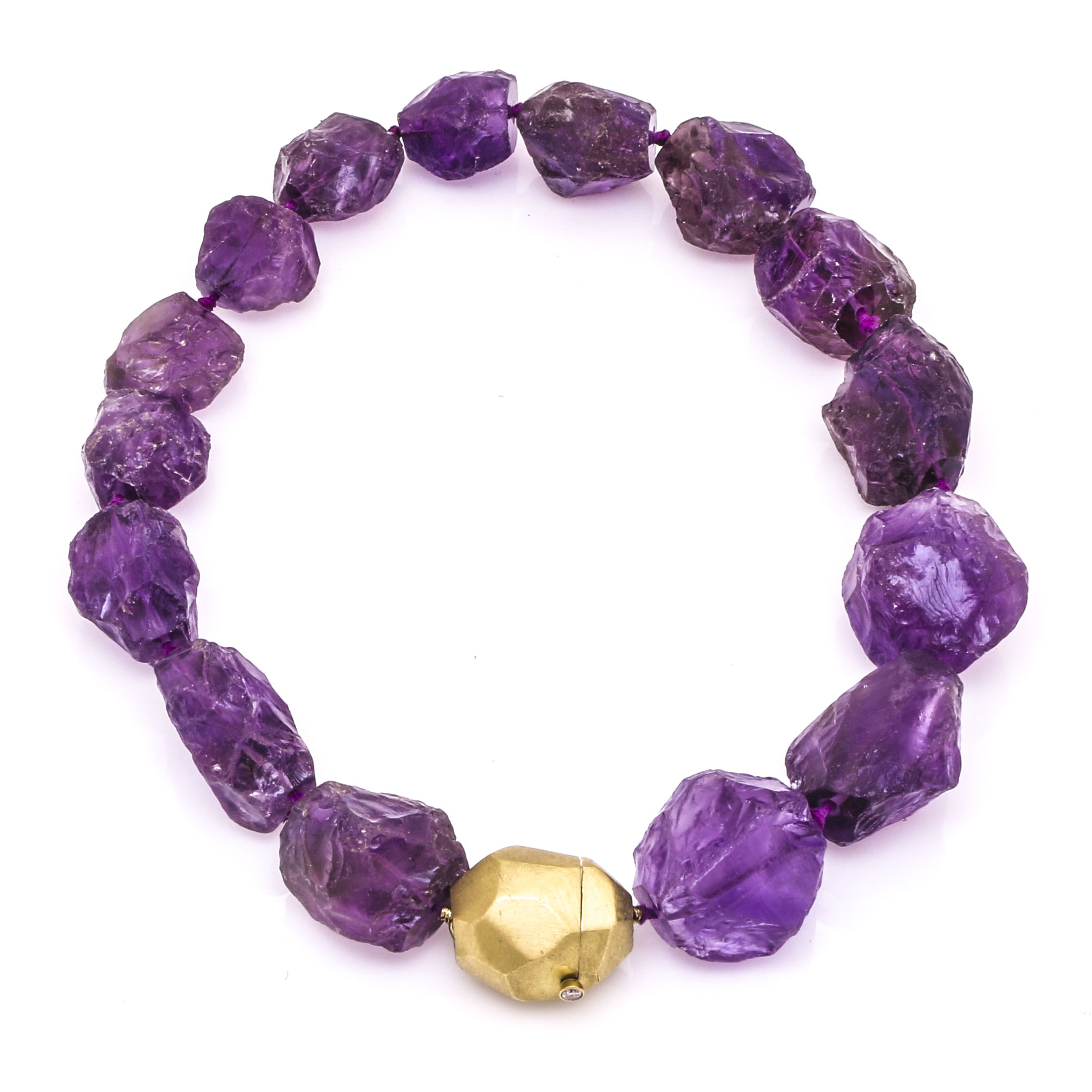 Amethyst Necklace with 18K Yellow Gold Clasp