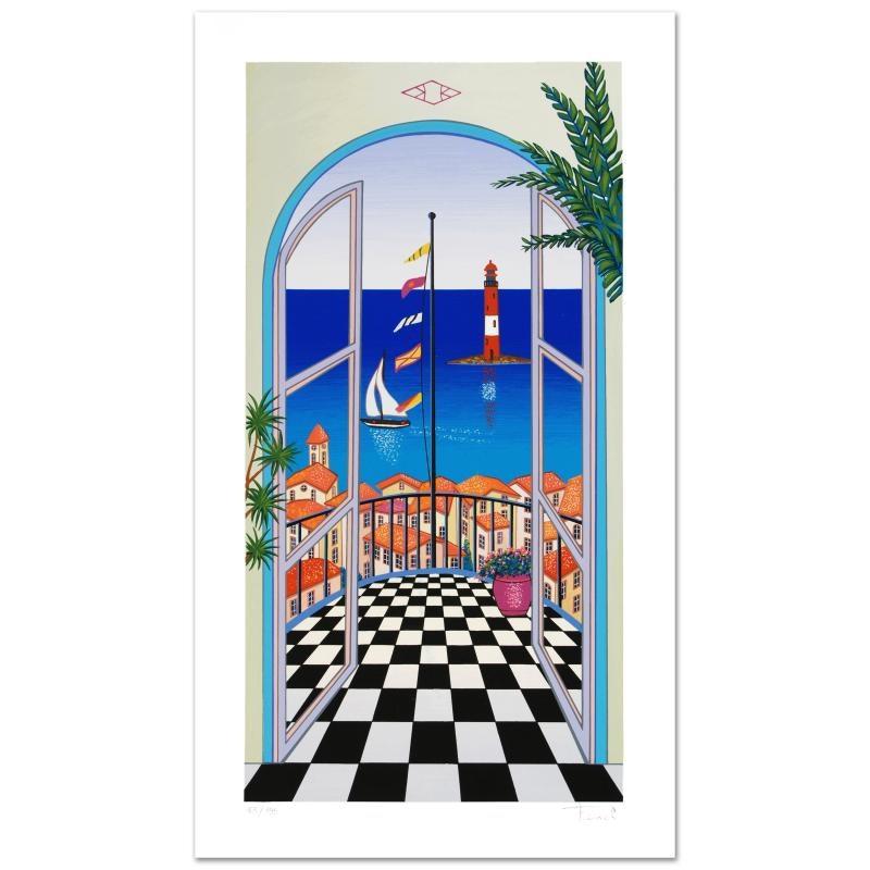 "Fanch Ledan Limited Edition Serigraph ""Arcachon Lighthouse"""