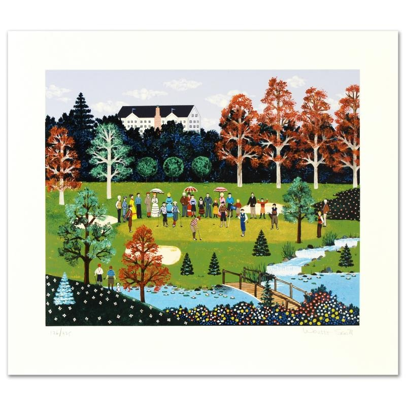 """Jane Wooster Limited Edition Serigraph """"Putt for the Championship"""""""