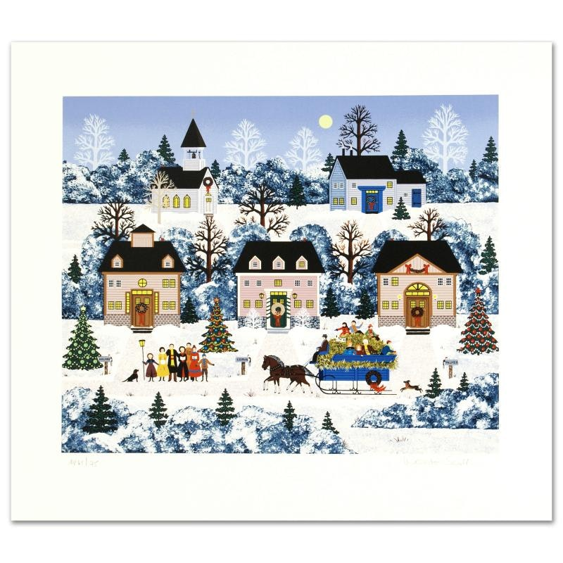 """Jane Wooster Scott Limited Edition Serigraph """"Holiday Sleigh Ride"""""""