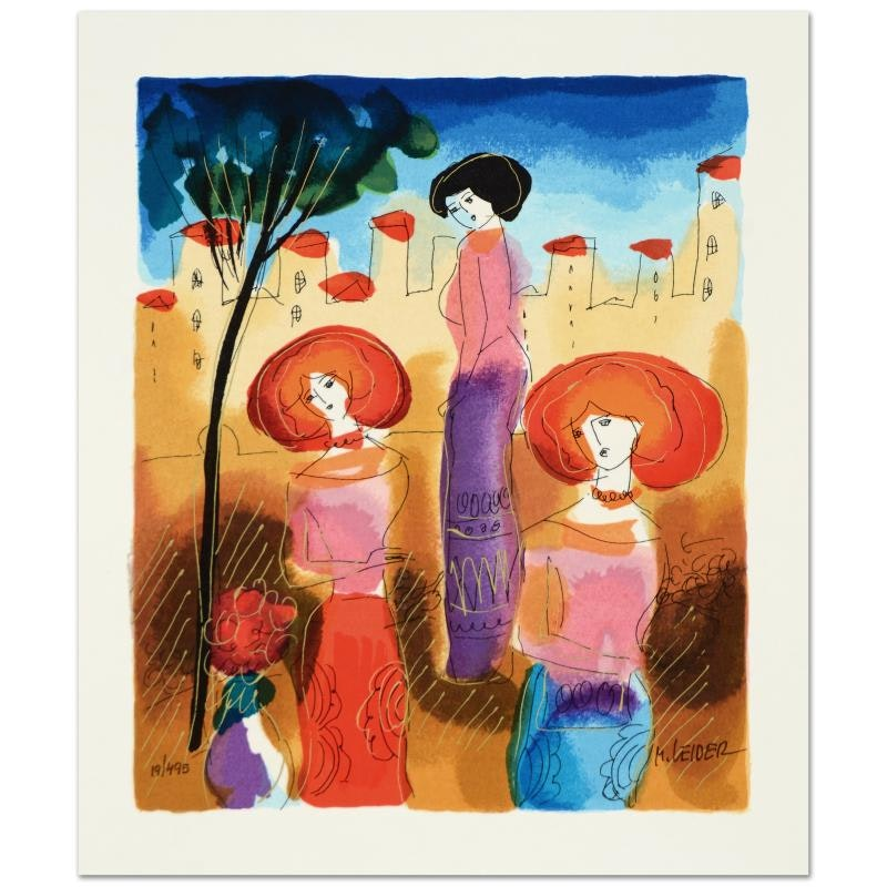 """Moshe Leider Limited Edition Serigraph """"The Meeting"""""""