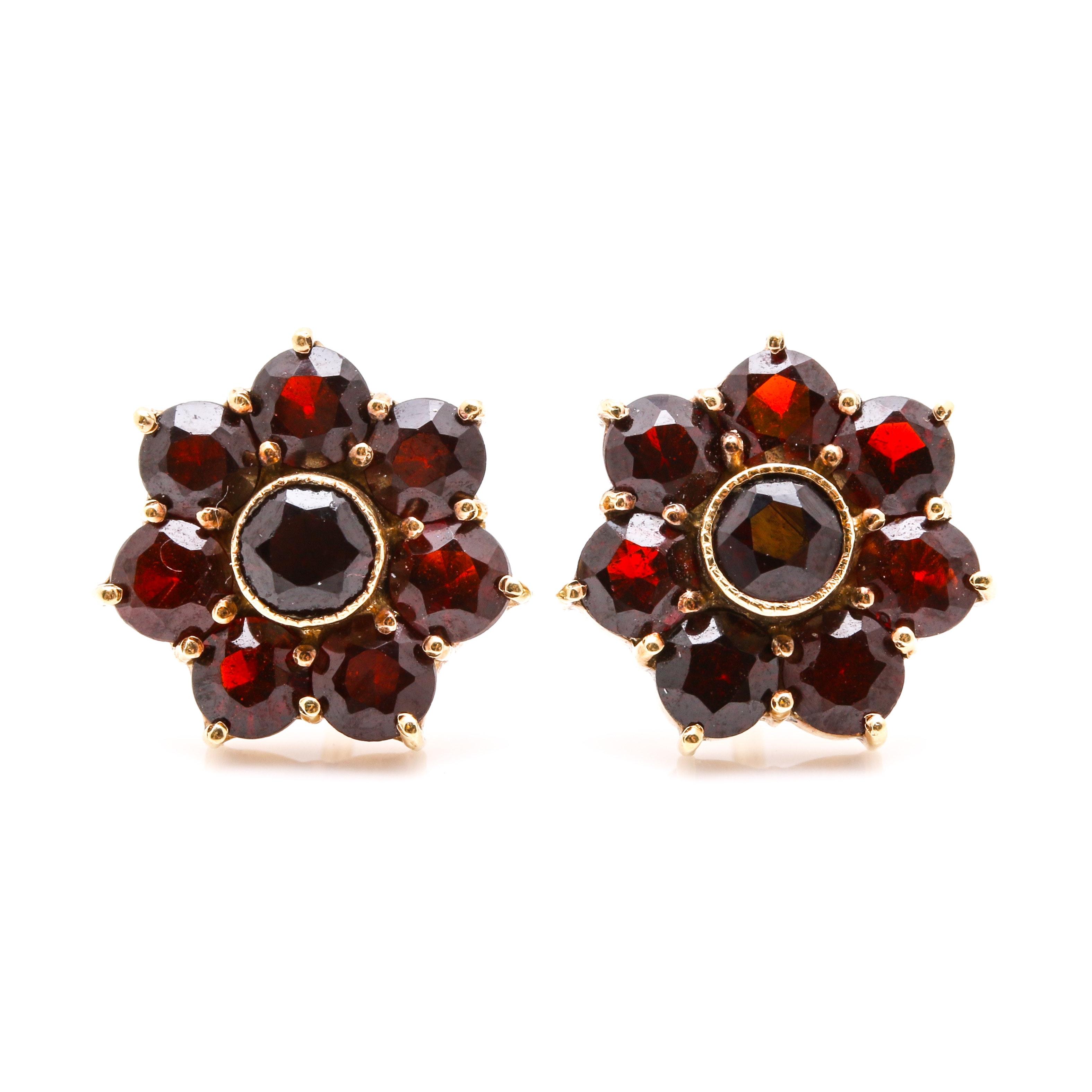 14K Yellow Gold Garnet Floral Earrings