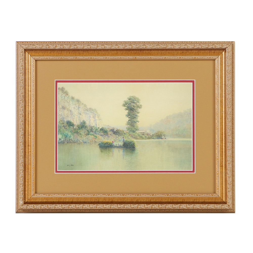 """Limited Edition Offset Lithograph After Paul Sawyier """"Rafting"""""""