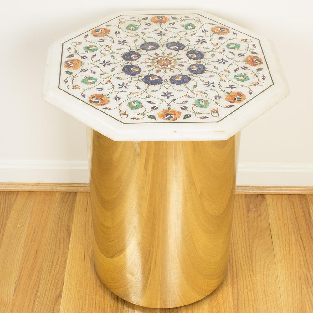 Taj Mahal Motif Marble Top Table Ebth