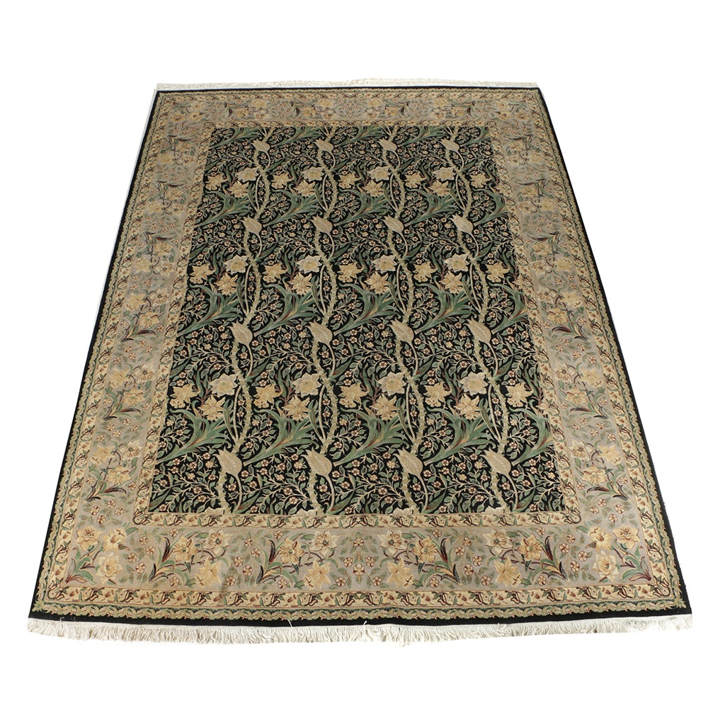 Hand-Knotted Wool Daffodil and Tulip Area Rug