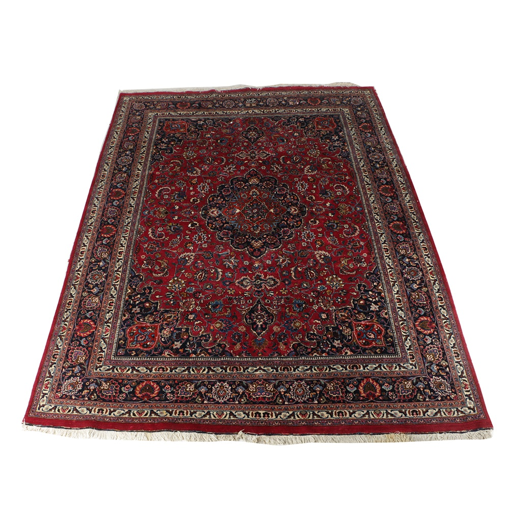 Hand-Knotted Persian Mashhad Wool Room-Size Area Rug