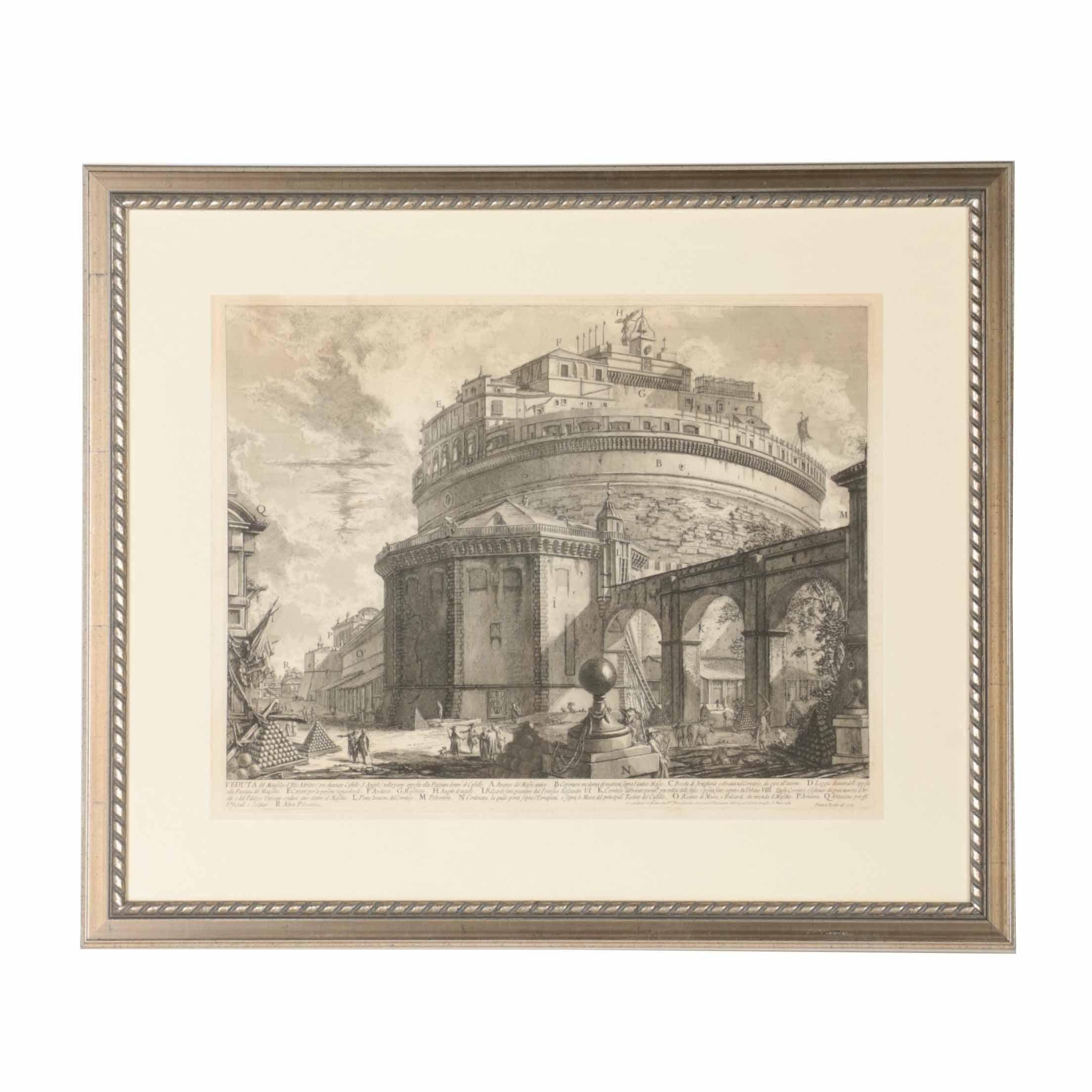 "Giovanni Battista Piranesi Etching on Paper ""View of the Mausoleum of the Emperor Hadrian"""
