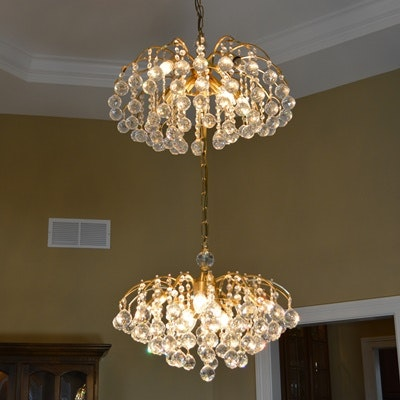 Vintage Swarovski Crystal Ball Gold Plated Two-Tier Chandelier