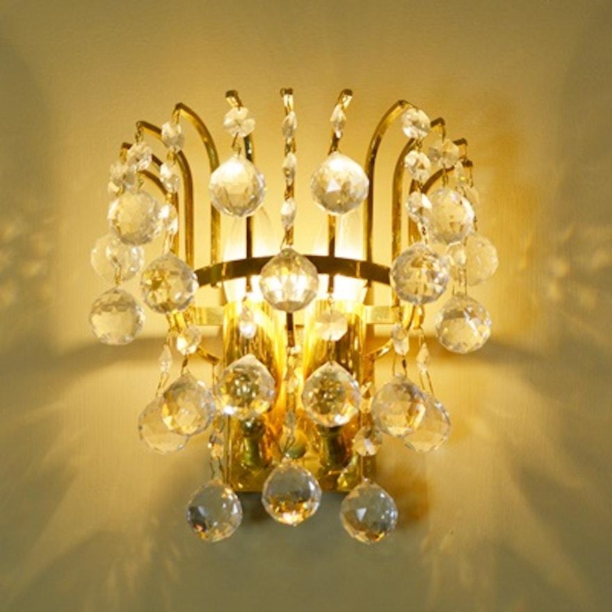 Pair Of Vintage Swarovski Crystal Gold Tone Wall Sconces Ebth