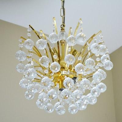 Vintage Swarovski Crystal Ball Gold Plated Chandelier