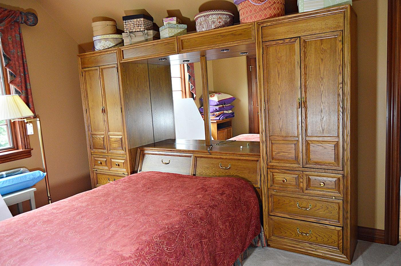 Stanley Oak Pier Cabinets and Queen Storage Bed Headboard ...