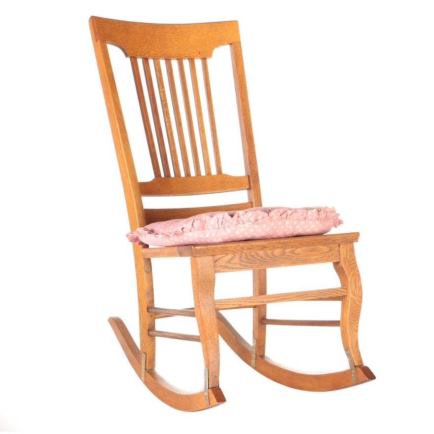 Wooden Rocking Chair With Seat Cushion : EBTH