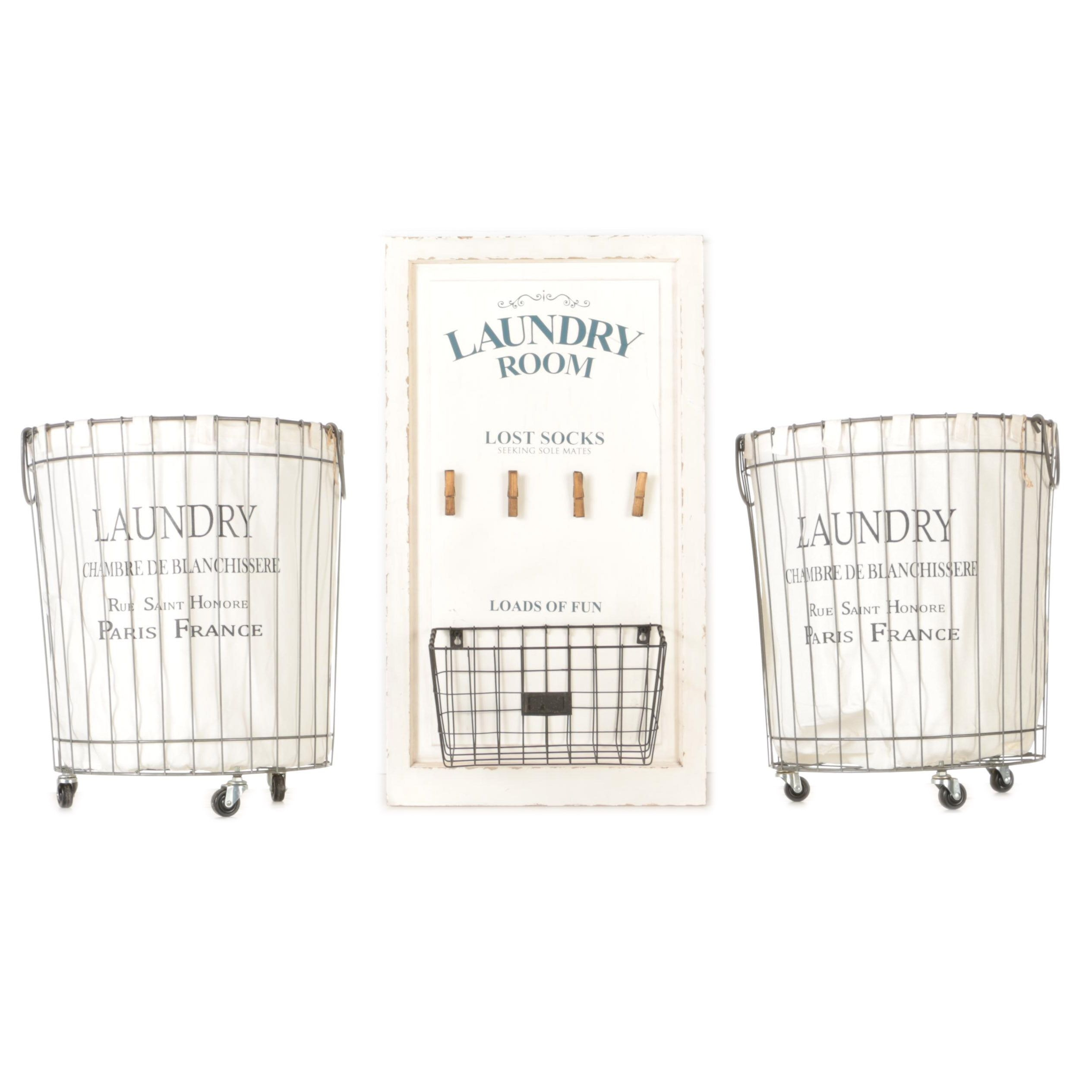 Laundry Baskets and Sign