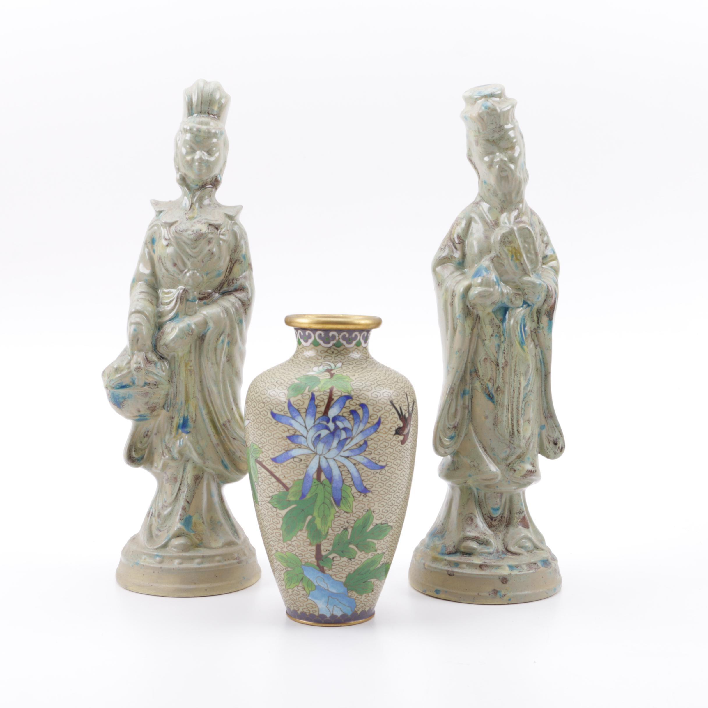 Pair of Ceramic Figurines and Cloisonné Vase