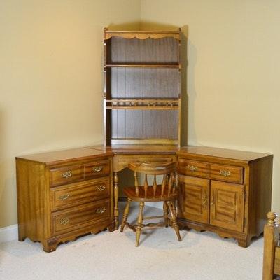 American Drew Corner Desk, Hutch and Storage Cabinets