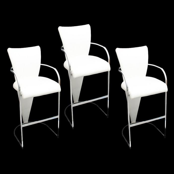 Modern White Leather Bar Stools