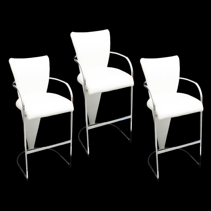 Modern White Leather Bar Stools