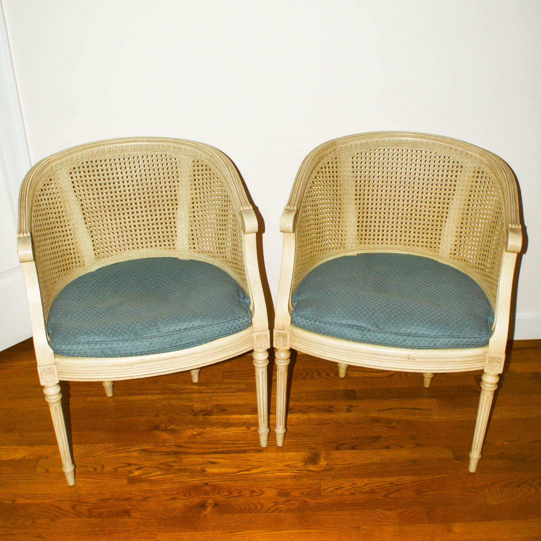 Pair Of Vintage Federal Style Caned Chairs ...