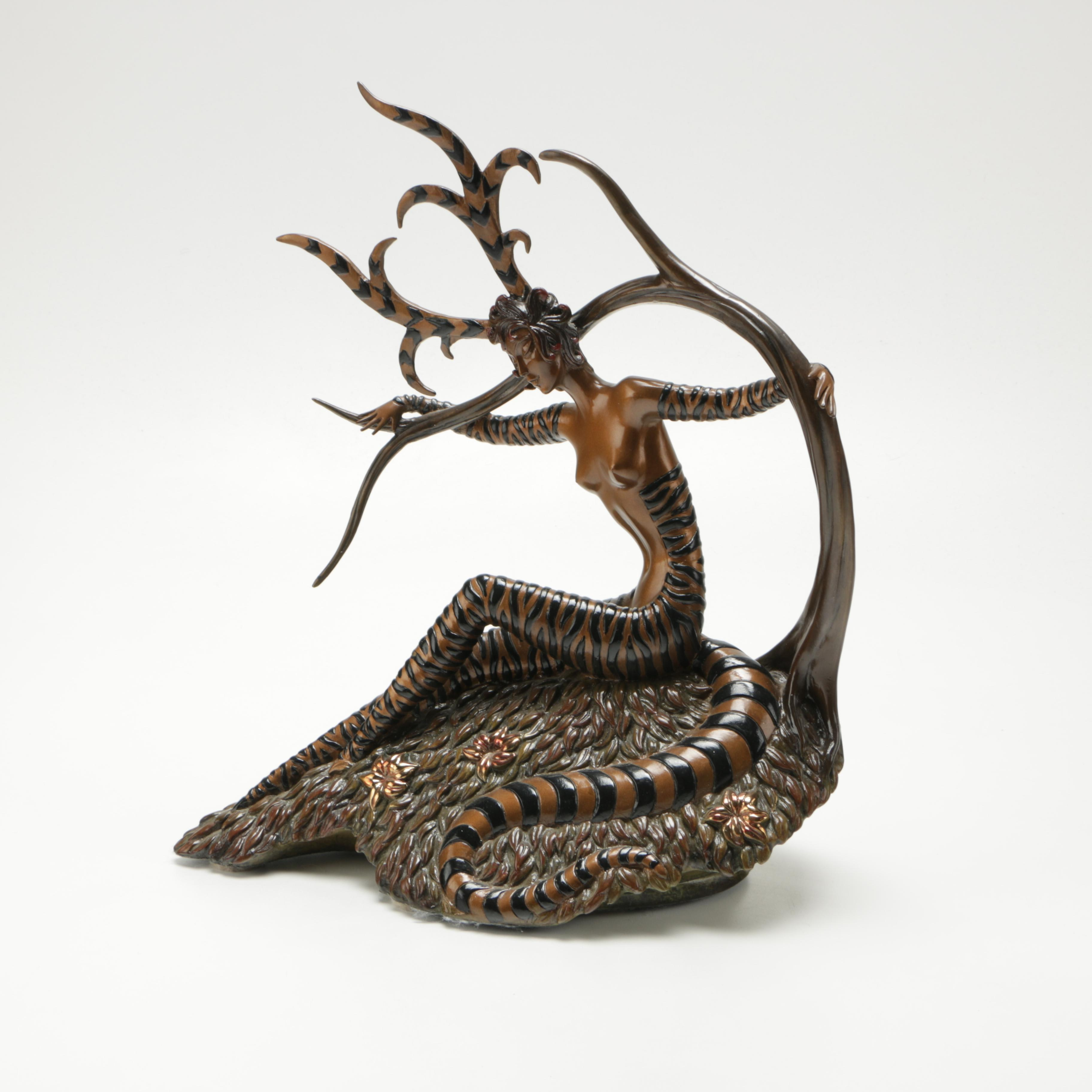 "Erte Limited Edition Bronze Sculpture  ""The Hunting"""