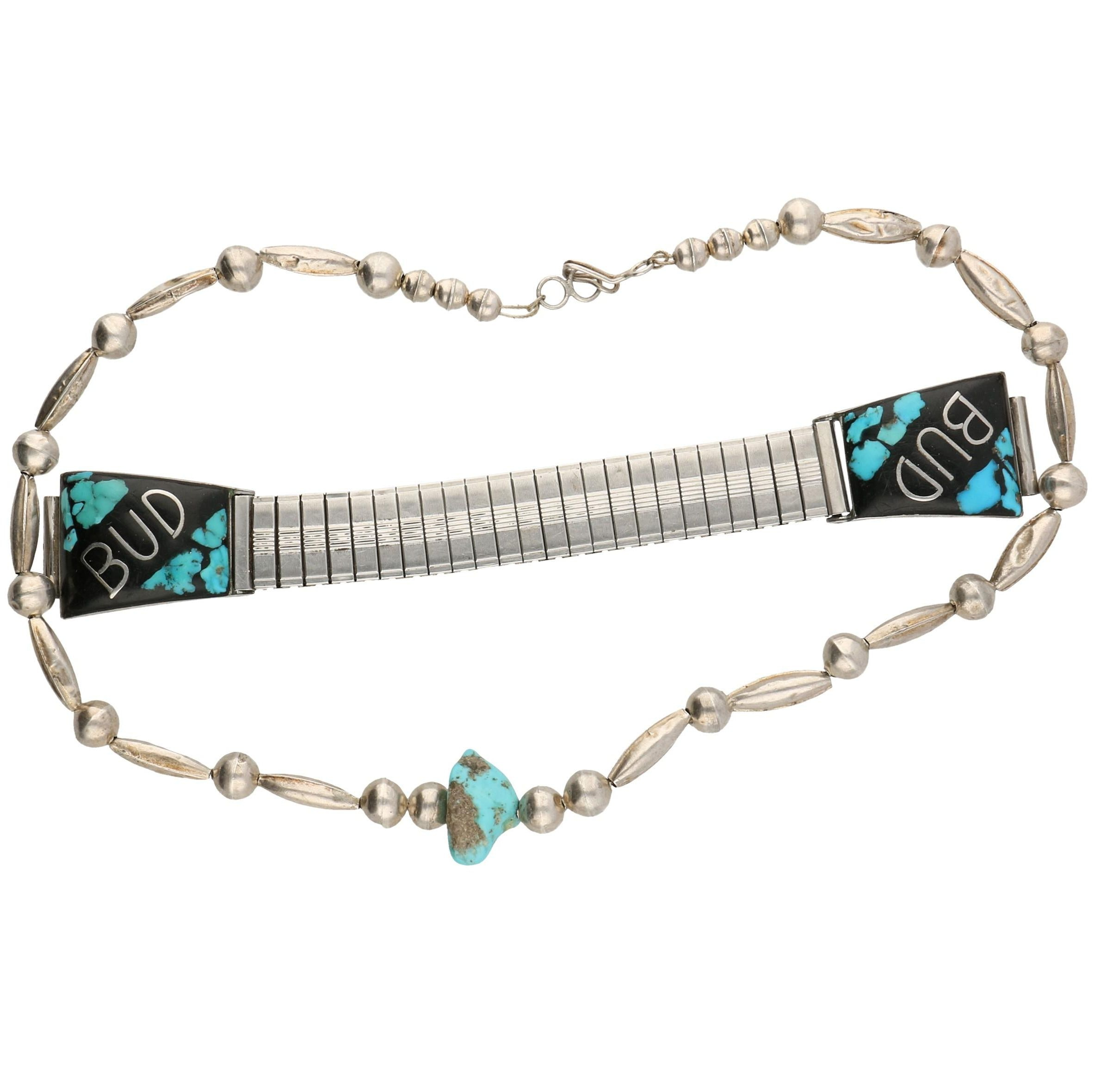 Sterling Necklace and a Stainless Steel Watchband With Turquoise Accents