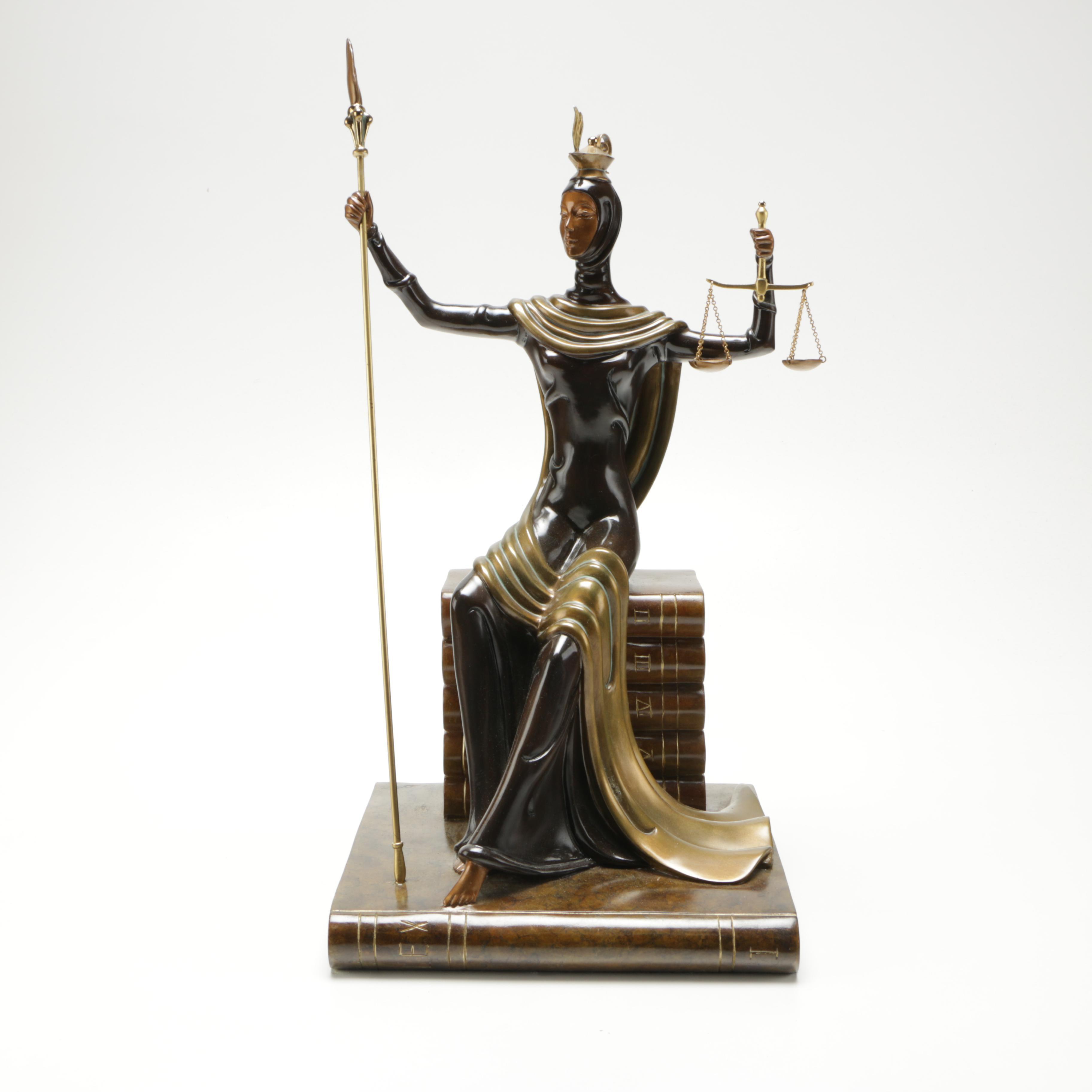 "Erte Limited Edition Bronze Sculpture  ""Justice"""
