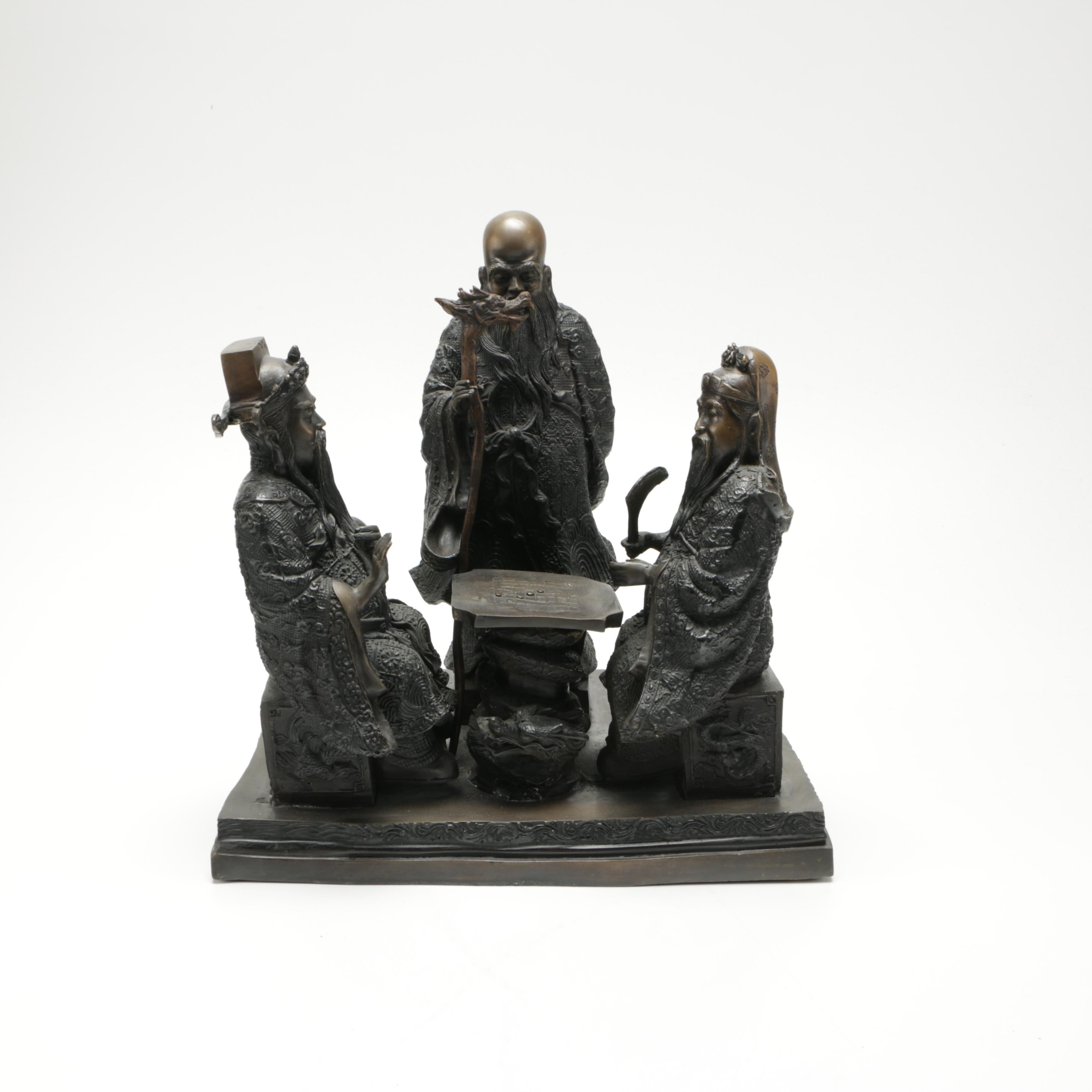 Chinese Bronze Sculpture of Men Playing Go