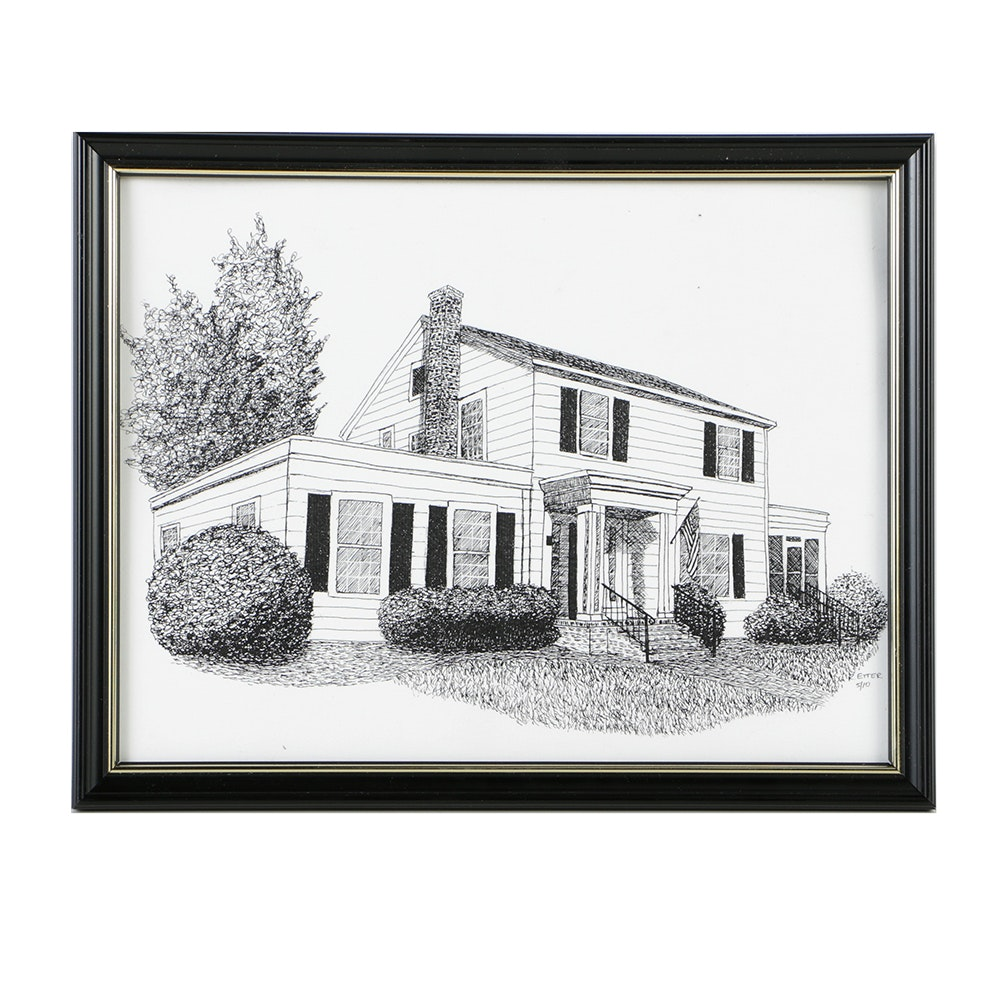 R. Etter Ink on Paper Drawing of House
