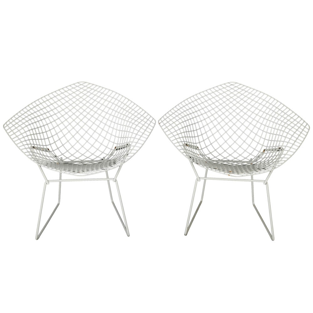 """Pair of """"Diamond"""" Lounge Chairs by Bertoia for Knoll"""