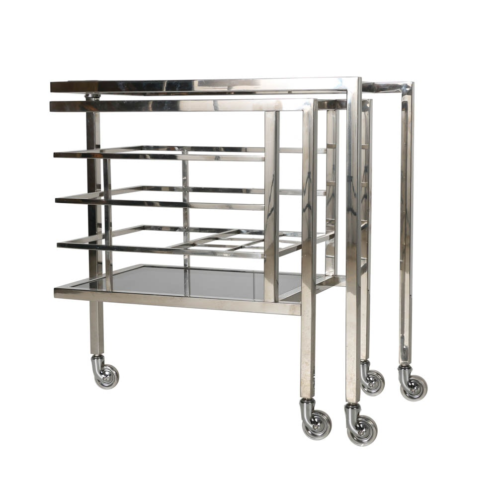 "Designer ""Trolley Collins"" Beverage Serving Cart"