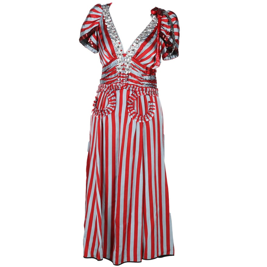 Marc Jacobs Striped Dress with Sequin and Crystal Embellishments