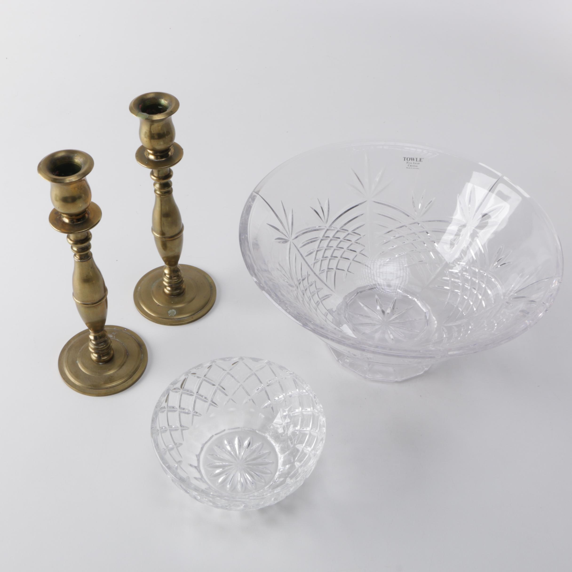 Collection of Crystal Bowls and Candlesticks
