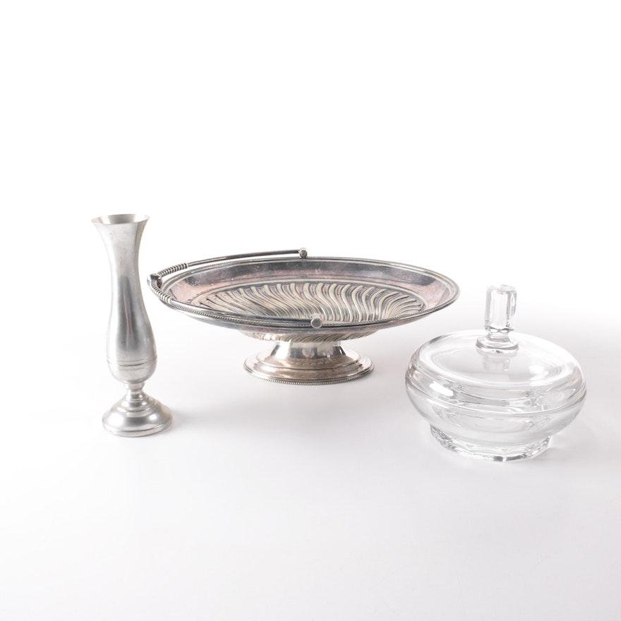 Pewter Bud Vase And Assorted Servingware Ebth