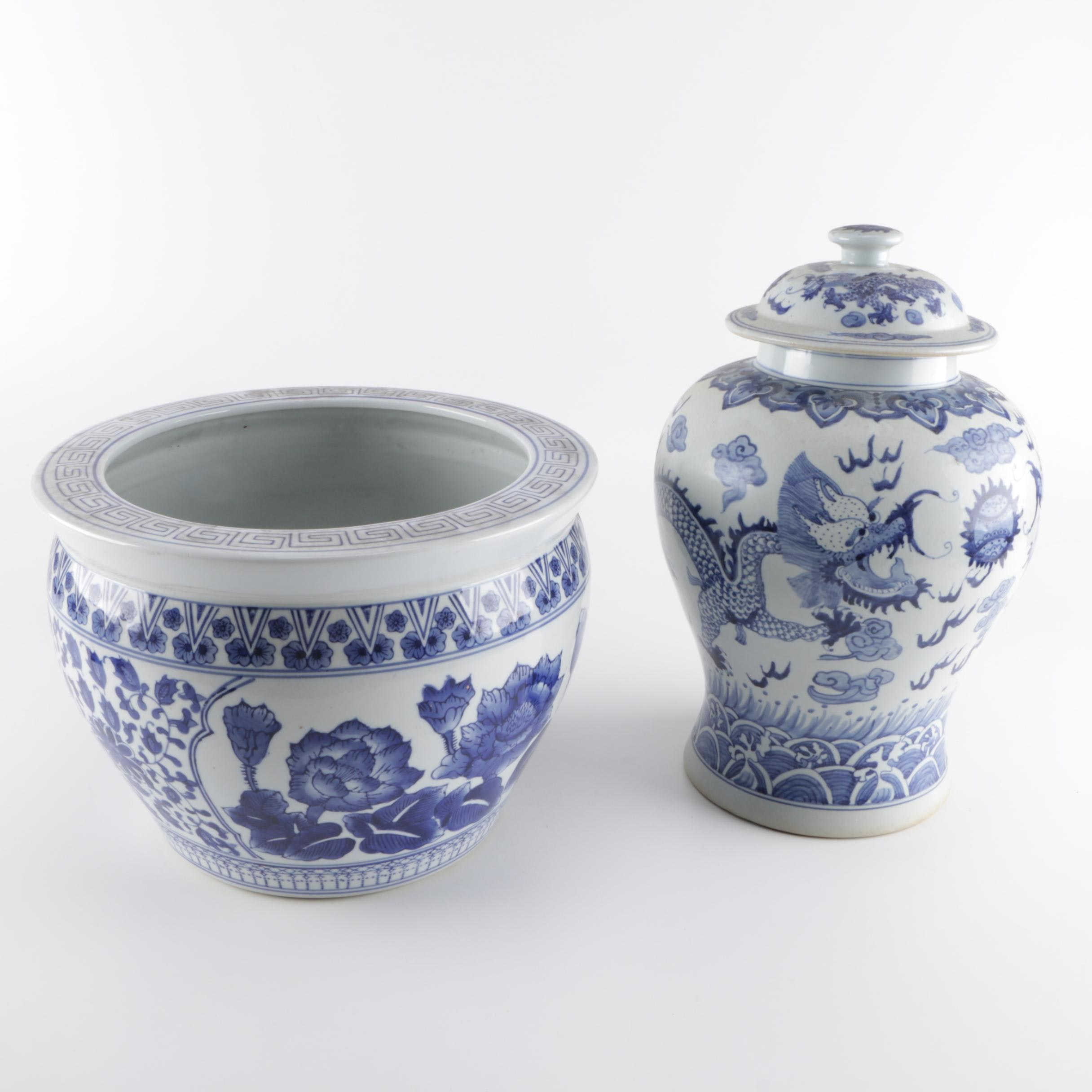 Chinese Made Jardiniere and Covered Ginger Jar