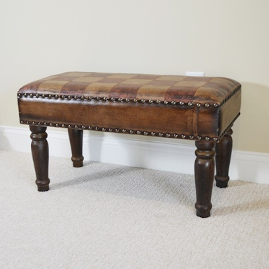 Fine Faux Leather And Walnut Stained Ottoman Bench Gmtry Best Dining Table And Chair Ideas Images Gmtryco