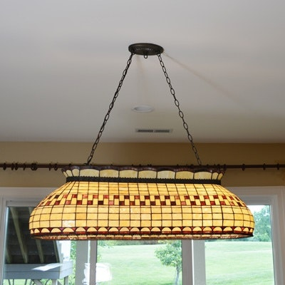 Stained Glass Billiard Ceiling Light Fixture