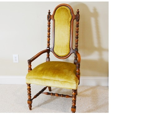 Vintage Statesville Chair Co. Upholstered Armchair