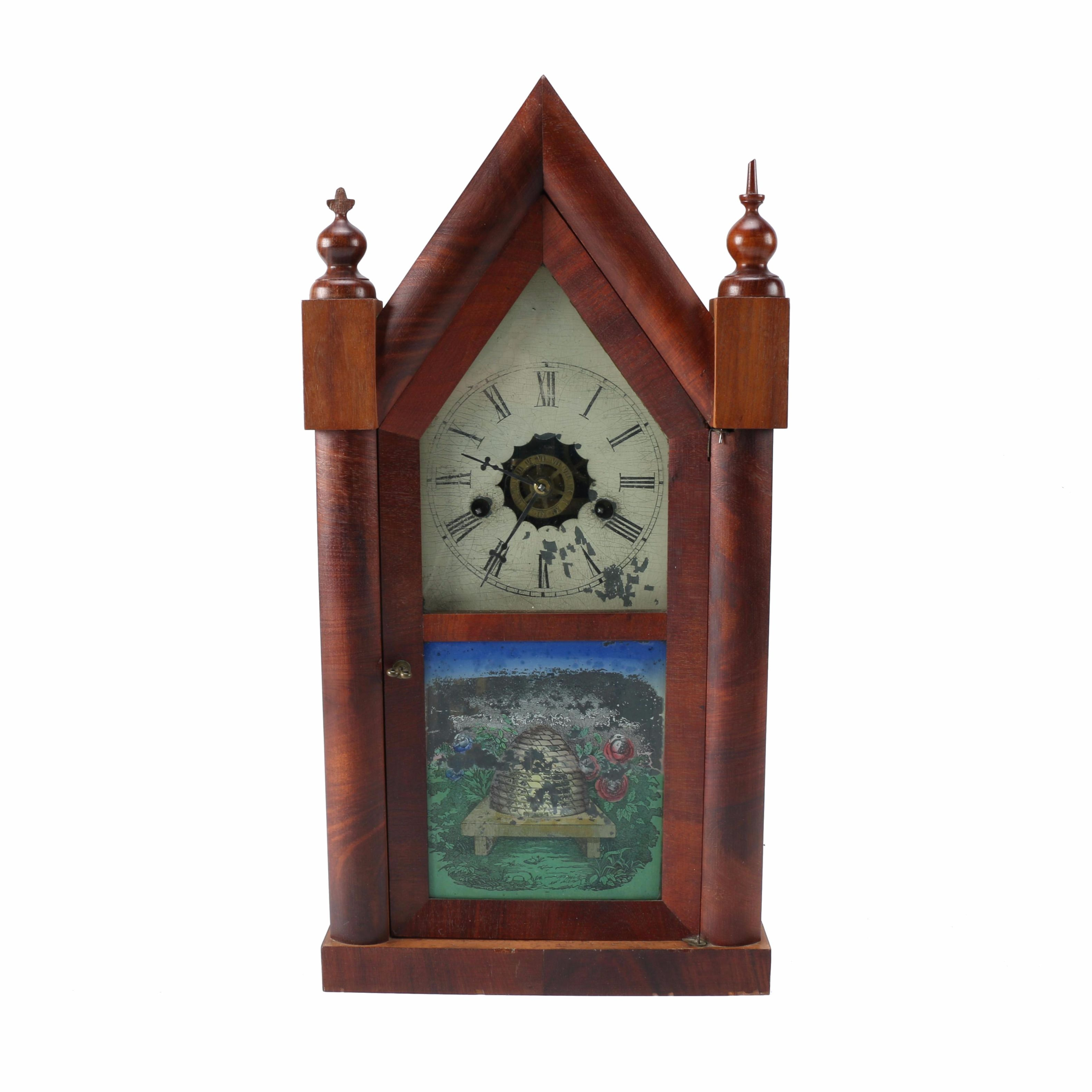 New Haven Eight-Day Goth Steeple Mantel Clock