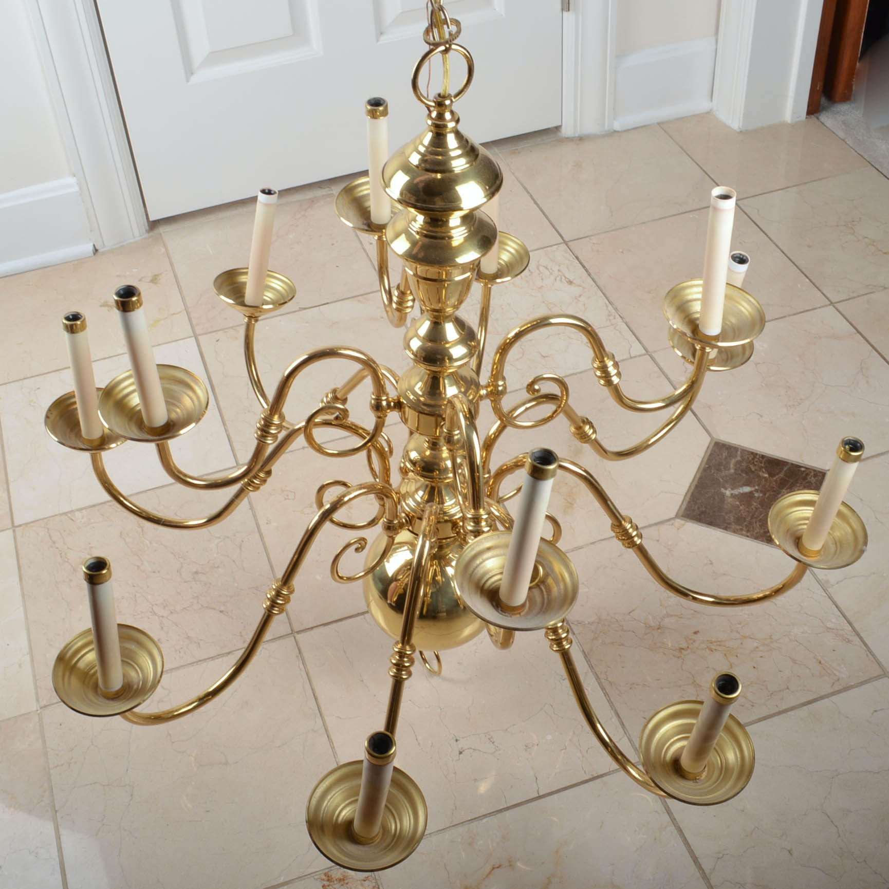 Brass Finished Eight-Arm Chandelier