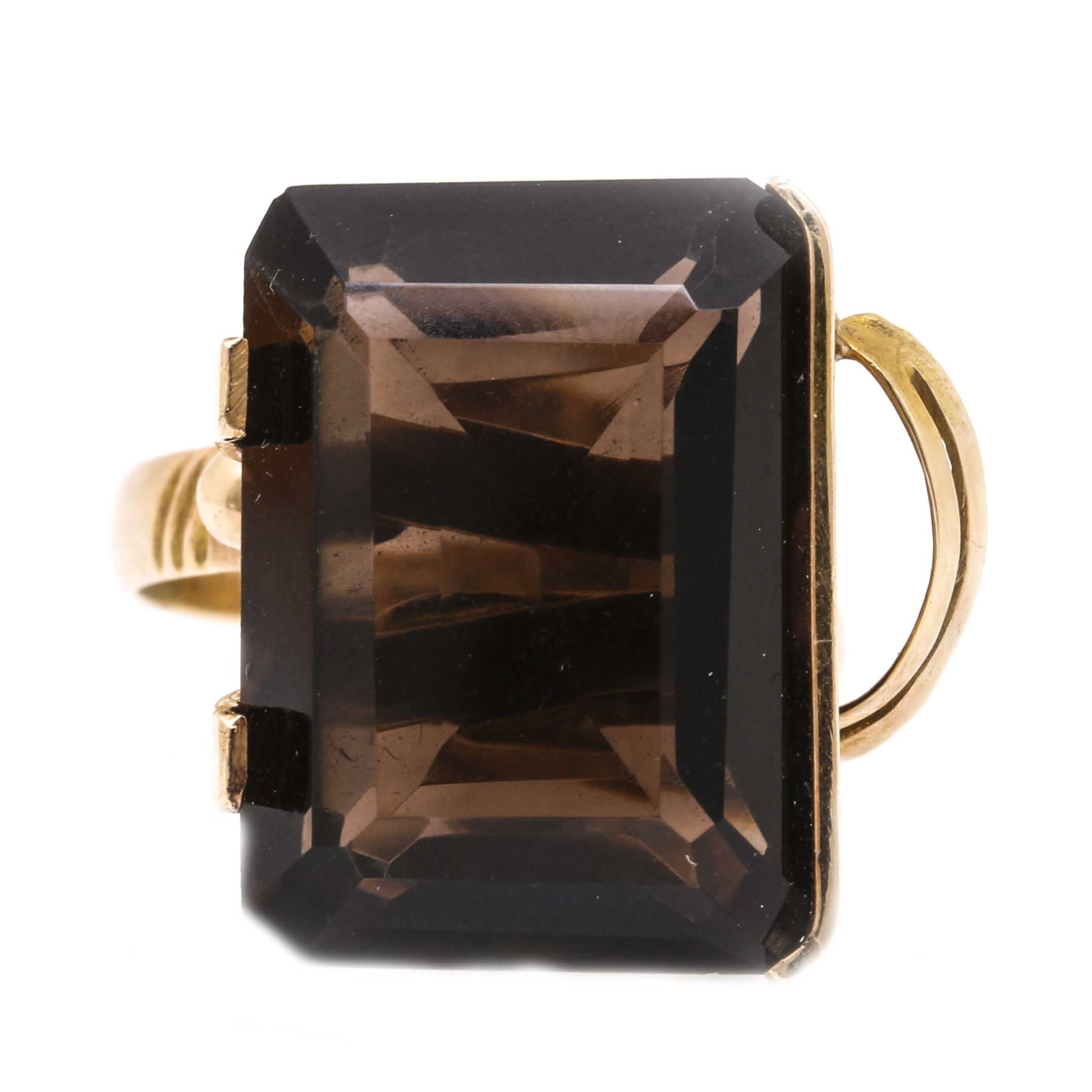 14K Yellow Gold 12.10 CTS Smoky Quartz Cocktail Ring
