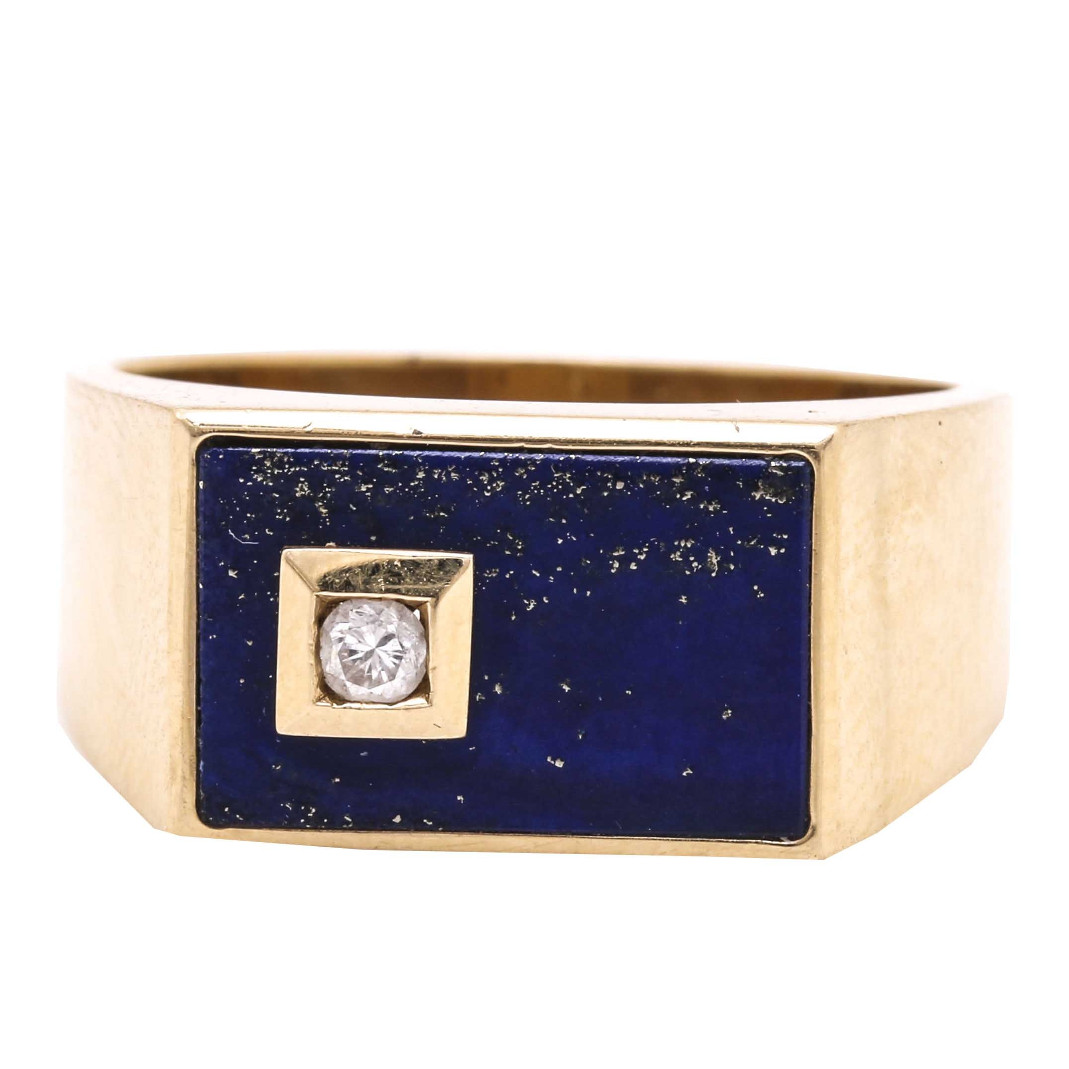 14K Yellow Gold Lapis Lazuli and Diamond Ring