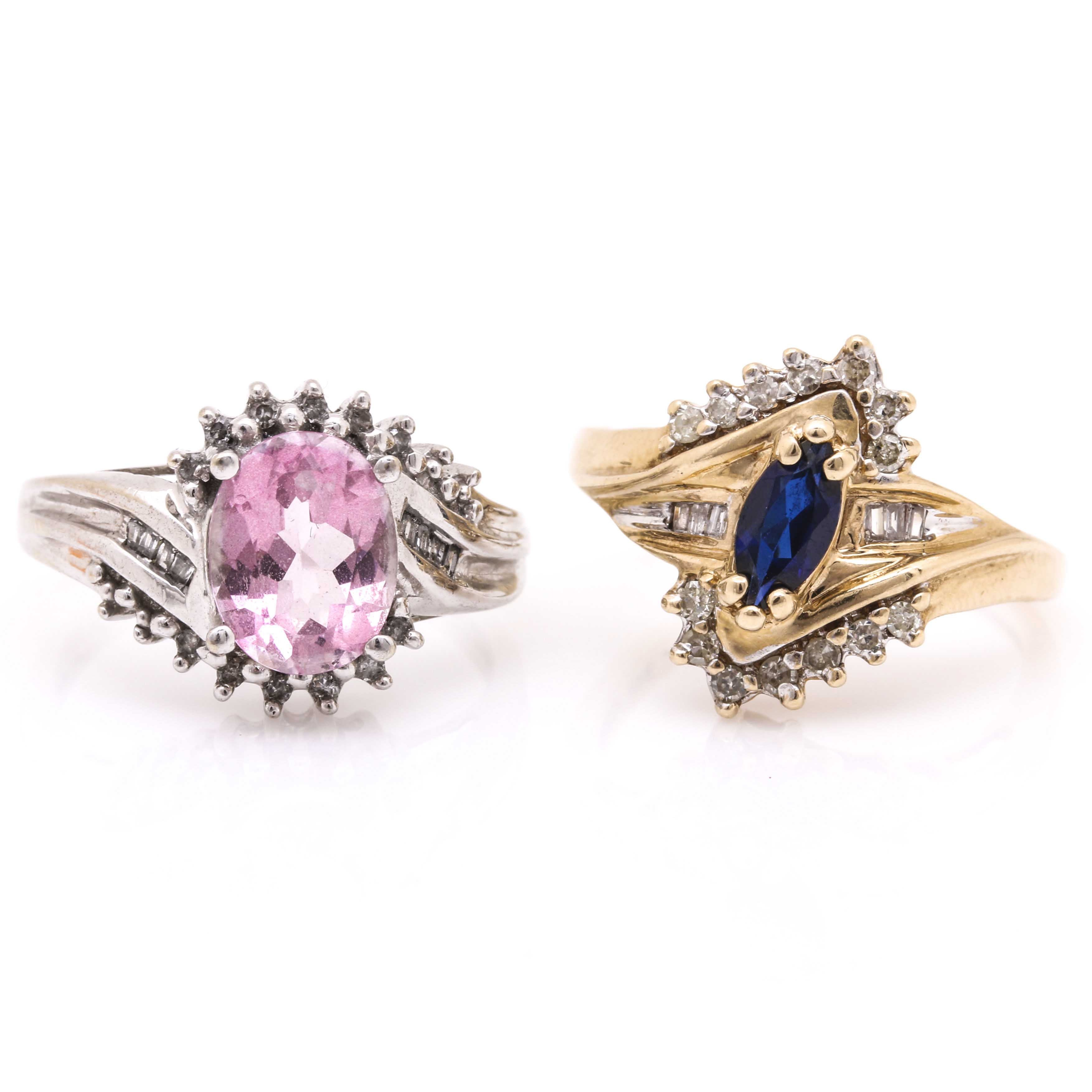Two 10K Yellow and White Gold Rings Featuring Diamonds and Sapphires