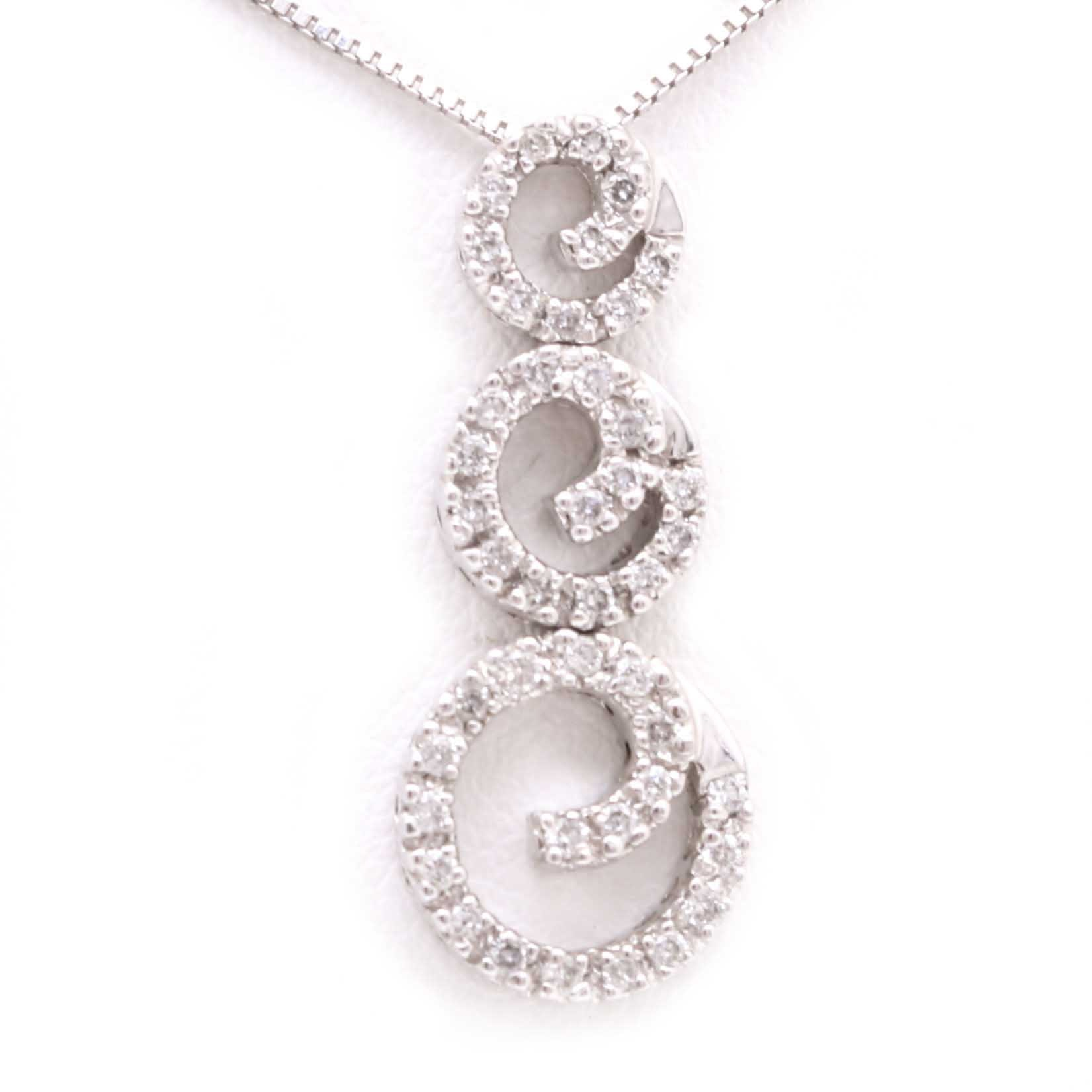 14K White Gold Box Chain Necklace and Diamond Slide Pendant