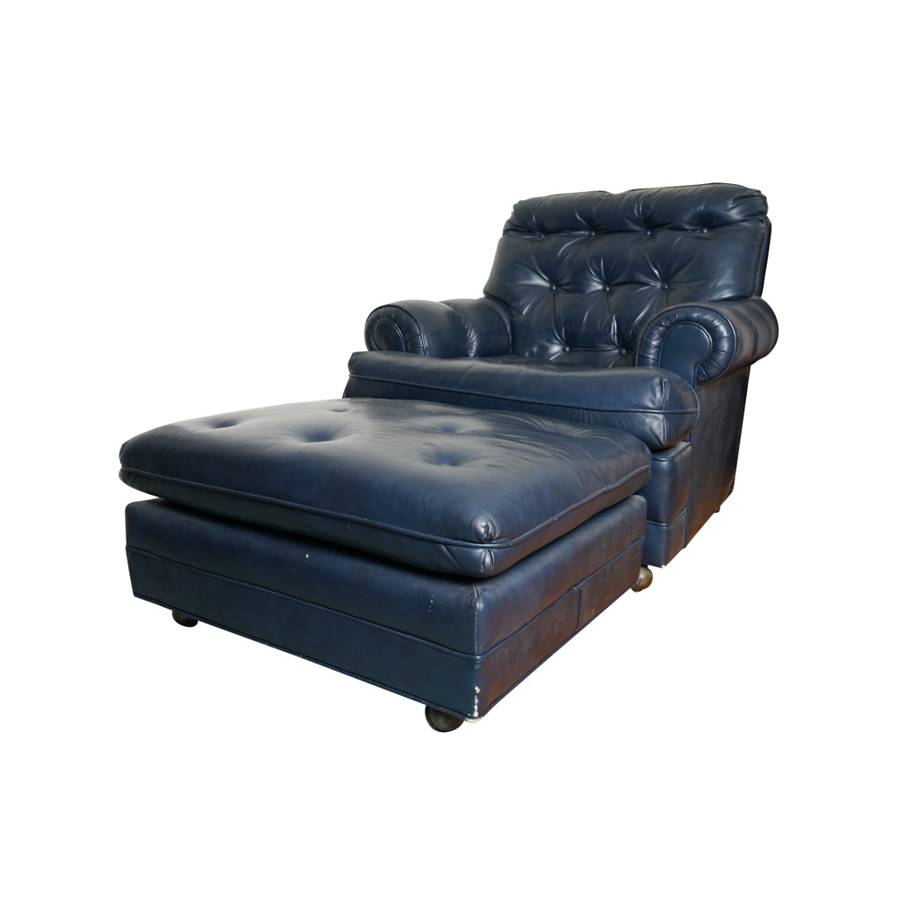 Vintage Blue Leather Club Chair and Ottoman by Classic Leather, Inc.